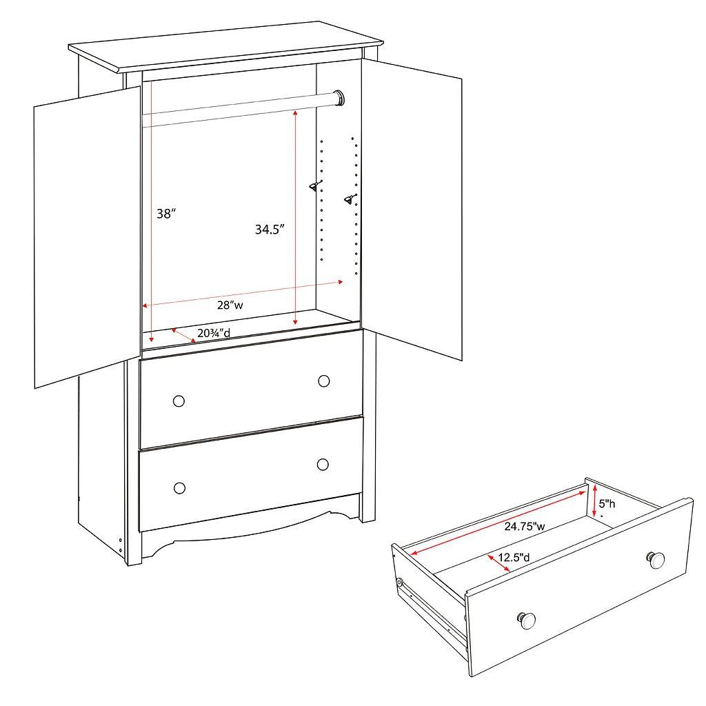 Prepac Monterey 2-Drawer Armoire