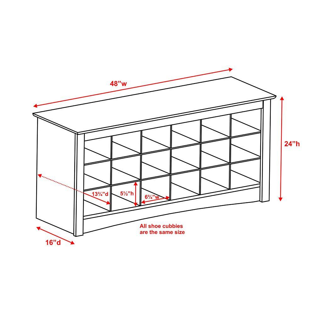 Prepac Shoe Storage Cubby Bench