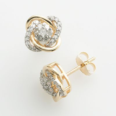 Timeless Love 10k Gold 1/4-ct. T.W. Diamond Love Knot Stud Earrings