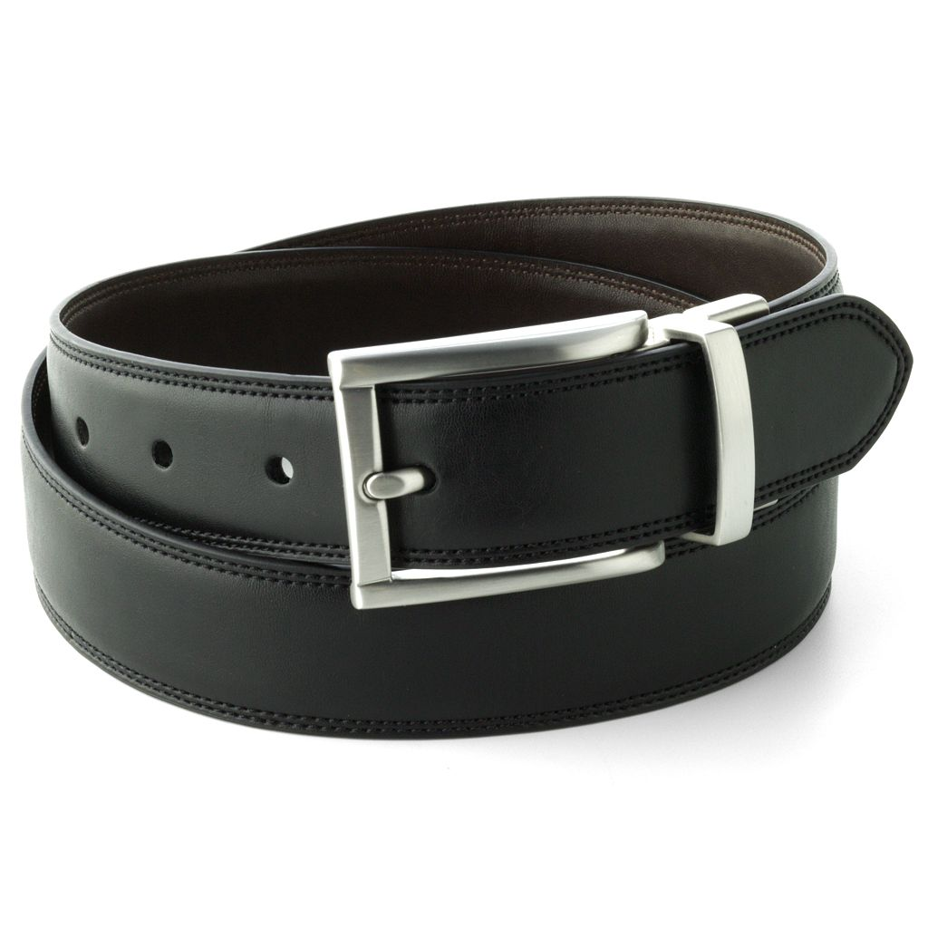 Chaps Black Brown Reversible Belt