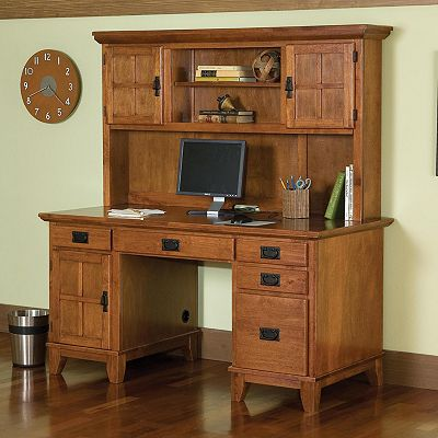 Arts and Crafts Double Pedestal Desk and Hutch