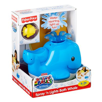 Fisher-Price Brilliant Basics Spray 'n Lights Bath Whale Toy