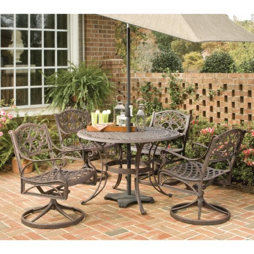 Patio Dining Table & Swivel Chair 5-piece Set
