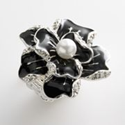 Candie's Silver-Tone Simulated Crystal and Simulated Pearl Floral Stretch Ring