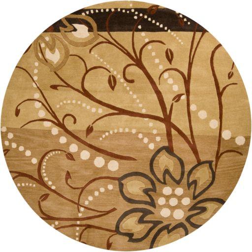Surya Athena Tan Floral Rug - 4' Round