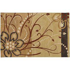 Surya Athena Tan Floral Rug - 5' x 8'
