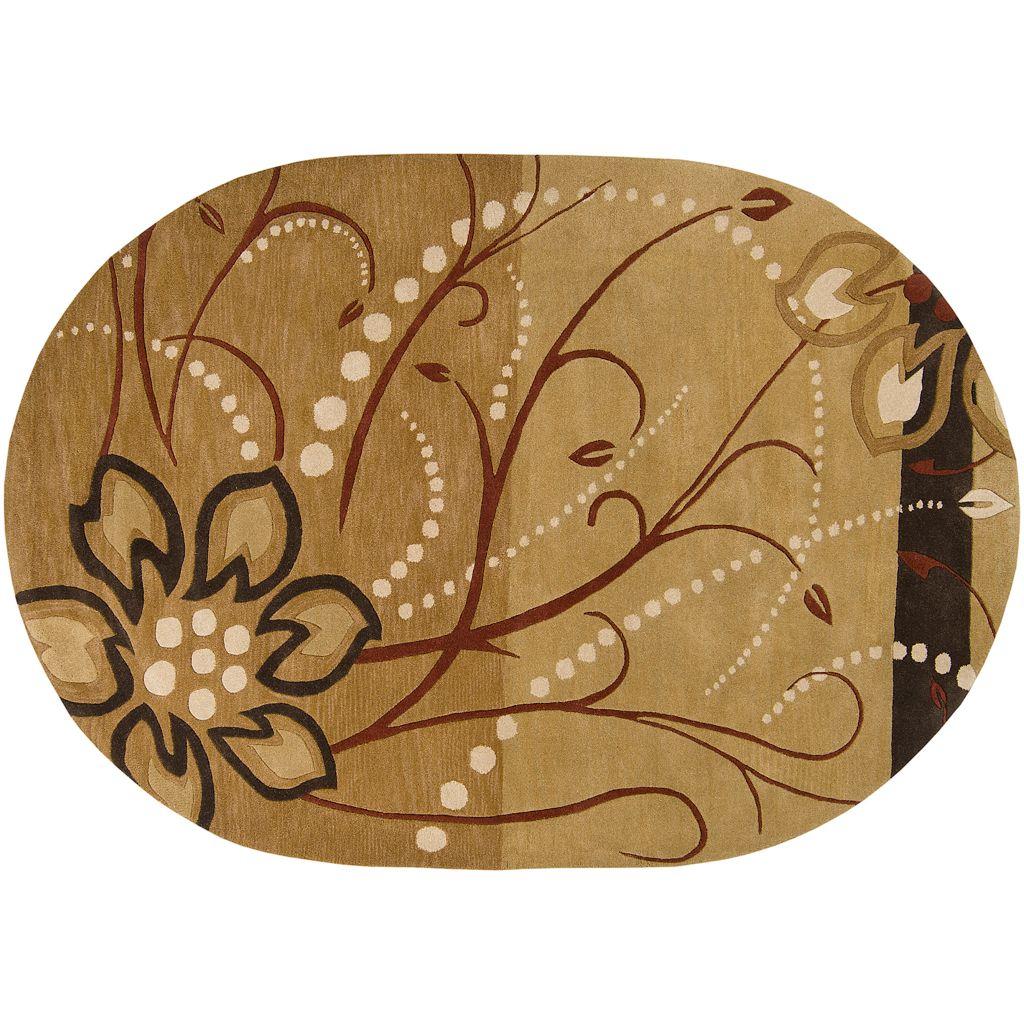 Surya Athena Tan Floral Rug - 8' x 10' Oval