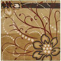 Surya Athena Tan Floral Rug - 8' Square