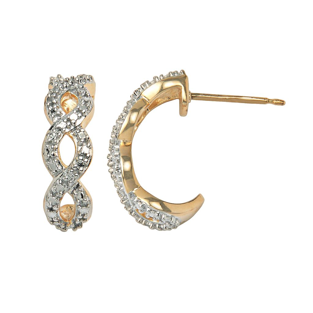 18k Gold-Over-Silver & Sterling Silver Diamond Accent Infinity J-Hoop Earrings