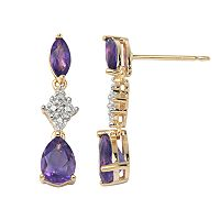 18k Gold-Over-Silver African Amethyst & Diamond Accent Linear Drop Earrings