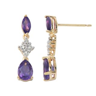 18k Gold-Over-Silver African Amethyst and Diamond Accent Linear Drop Earrings