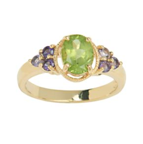 18k Gold-Over-Silver Peridot and African Amethyst Ring