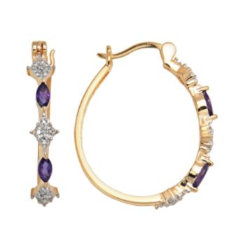 18k Gold-Over-Silver African Amethyst and Diamond Accent Hoop Earrings