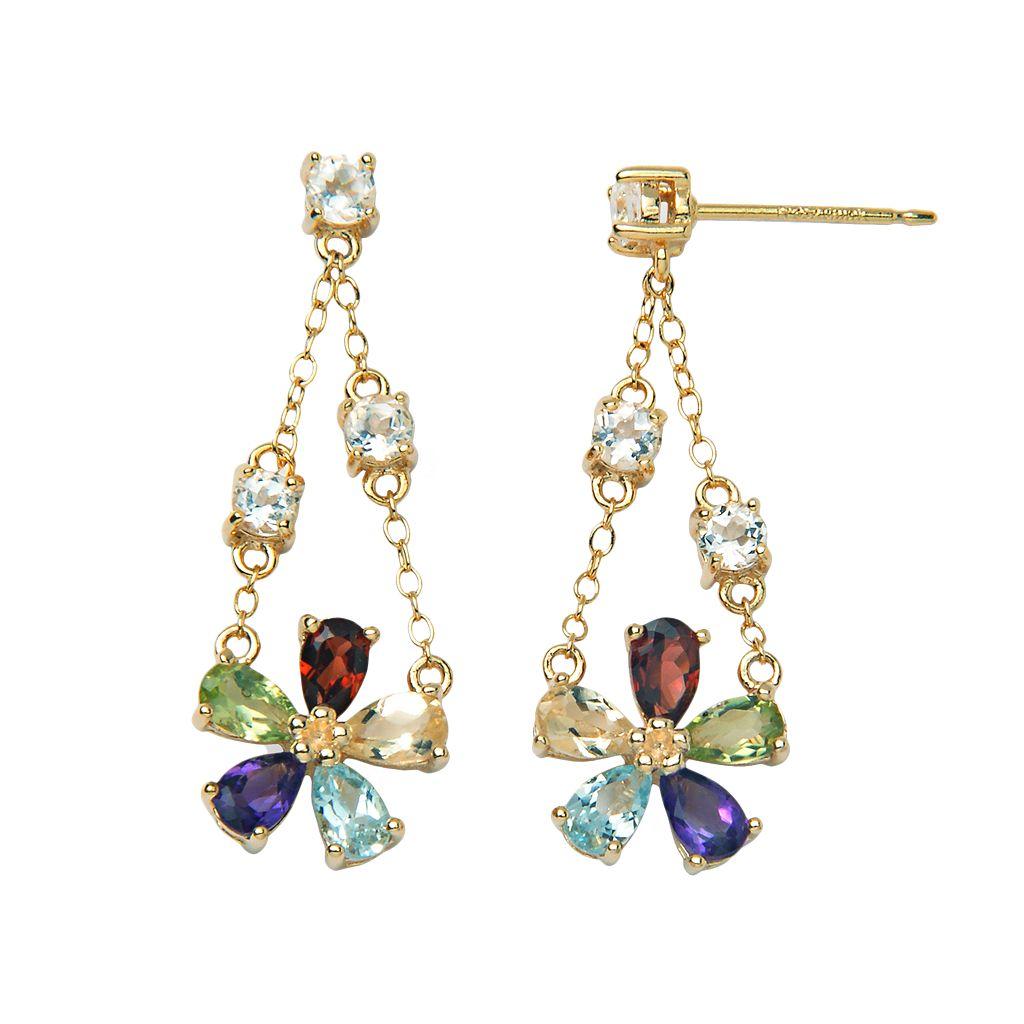 18k Gold-Over-Silver Gemstone Floral Chandelier Earrings