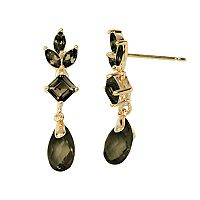 18k Gold Over Silver Smoky Quartz Drop Earrings
