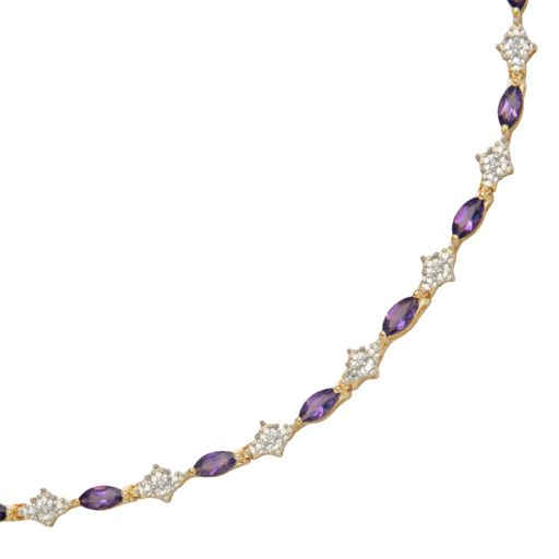 18k Gold-Over-Silver African Amethyst and Diamond Accent Bracelet