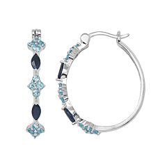 Sterling Silver Sapphire & Swiss Blue Topaz Hoop Earrings