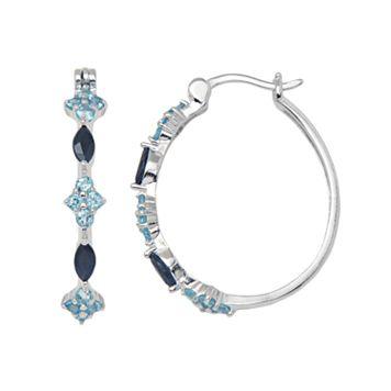Sterling Silver Sapphire & Swiss Blue Topaz Hoop Earrings