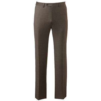 Chaps Classic-Fit Sharkskin Wool Flat-Front Suit Pants