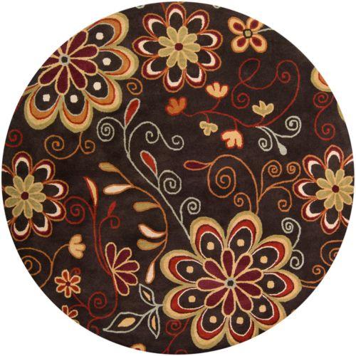 Surya Athena Chocolate Floral Rug – 4′ Round