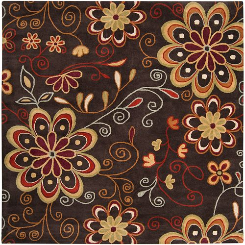 Surya Athena Floral Scroll Rug - 4' Square