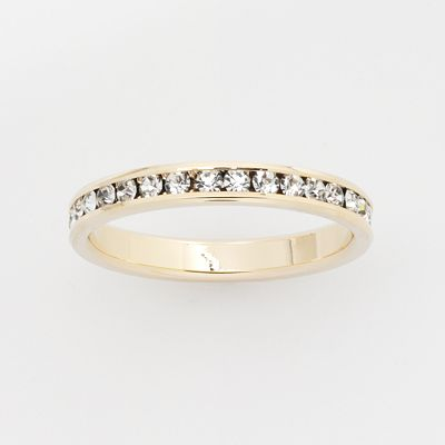 Gold-Tone Crystal Eternity Band Ring