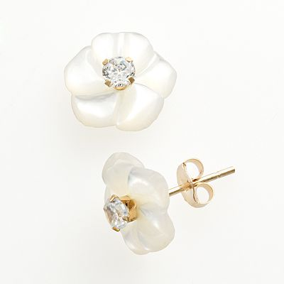 10k Gold Cubic Zirconia and Mother-of-Pearl Floral Stud Earrings
