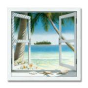 """""""Island Getaway"""" 14.5"""" x 14.5"""" Framed Canvas Art"""