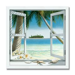 island getaway 24 x 24 framed canvas art
