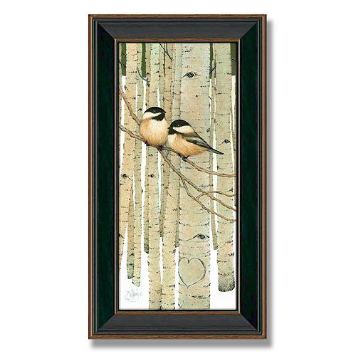 """Love Birds"" Framed Canvas Art"