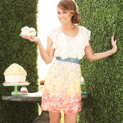 LC Lauren Conrad Floral Ruffle Chiffon Dress