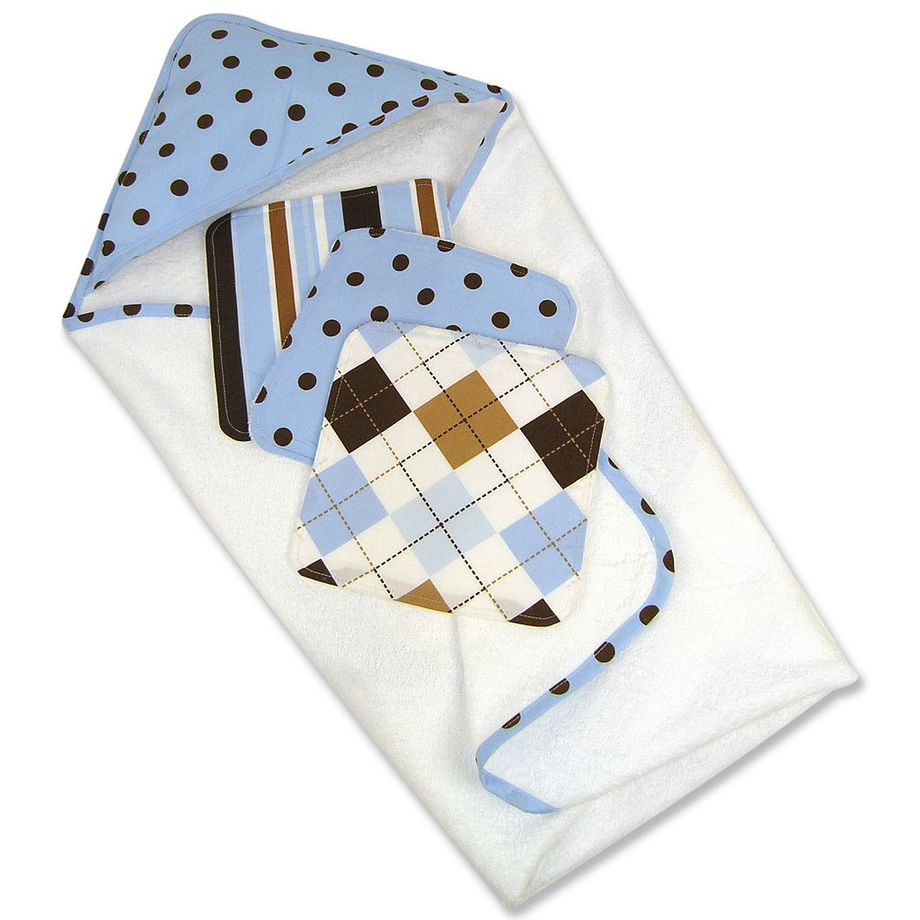 Trend Lab Polka-Dot Towel and Washcloth Gift Cake Set