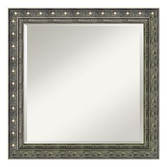 Amanti Art Barcelona Silver Finish Wood Square Wall Mirror