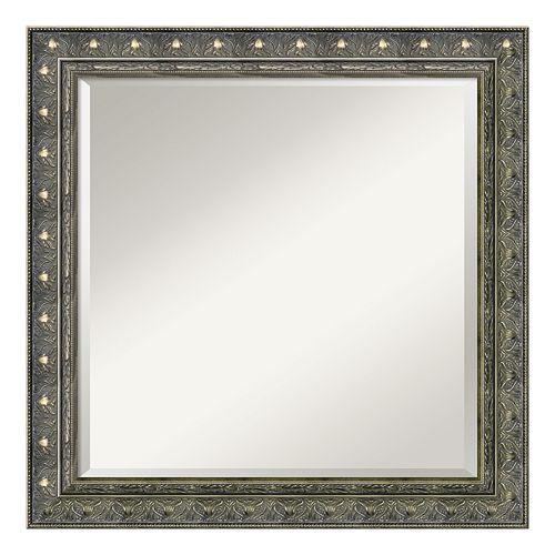 Amanti Art Barcelona Silver Finish Wood Square Wall Mirror
