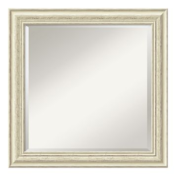 Amanti Art Country Distressed Whitewash Wood Square Wall Mirror