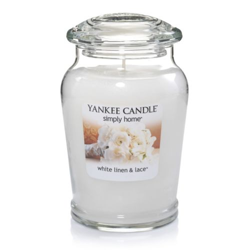 Yankee Candle simply home White Linen and Lace 19-oz. Jar Candle