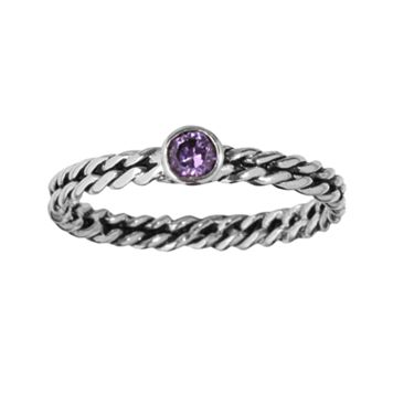 Sterling Silver Purple Cubic Zirconia Twist Ring