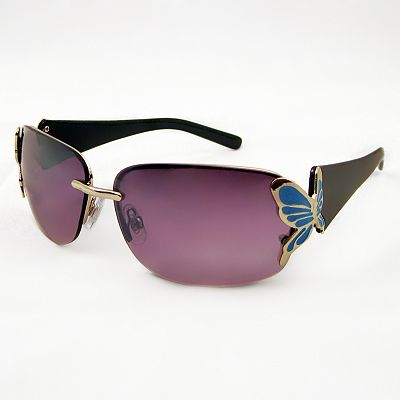 FENY Chrysalis Rimless Rectangle Wrap Sunglasses
