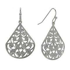 1928 Jet Filigree Teardrop Earrings