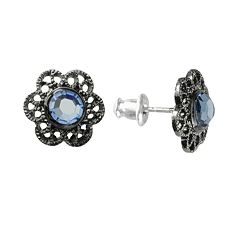 1928 Jet-Tone Simulated Crystal Floral Stud Earrings