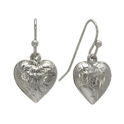 1928 Silver-Tone Heart Drop Earrings