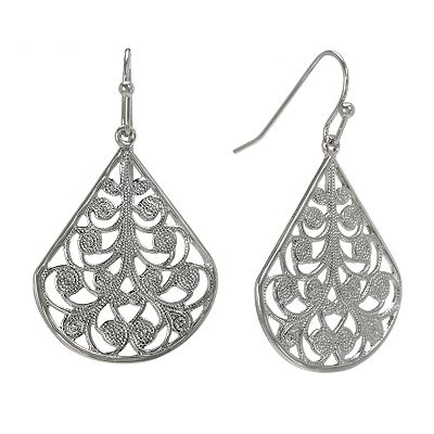 1928 Silver-Tone Filigree Teardrop Earrings
