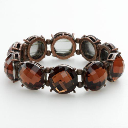 1928 Copper Tone Simulated Crystal Stretch Bracelet
