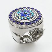 1928 Silver-Tone Simulated Crystal Floral Stretch Ring