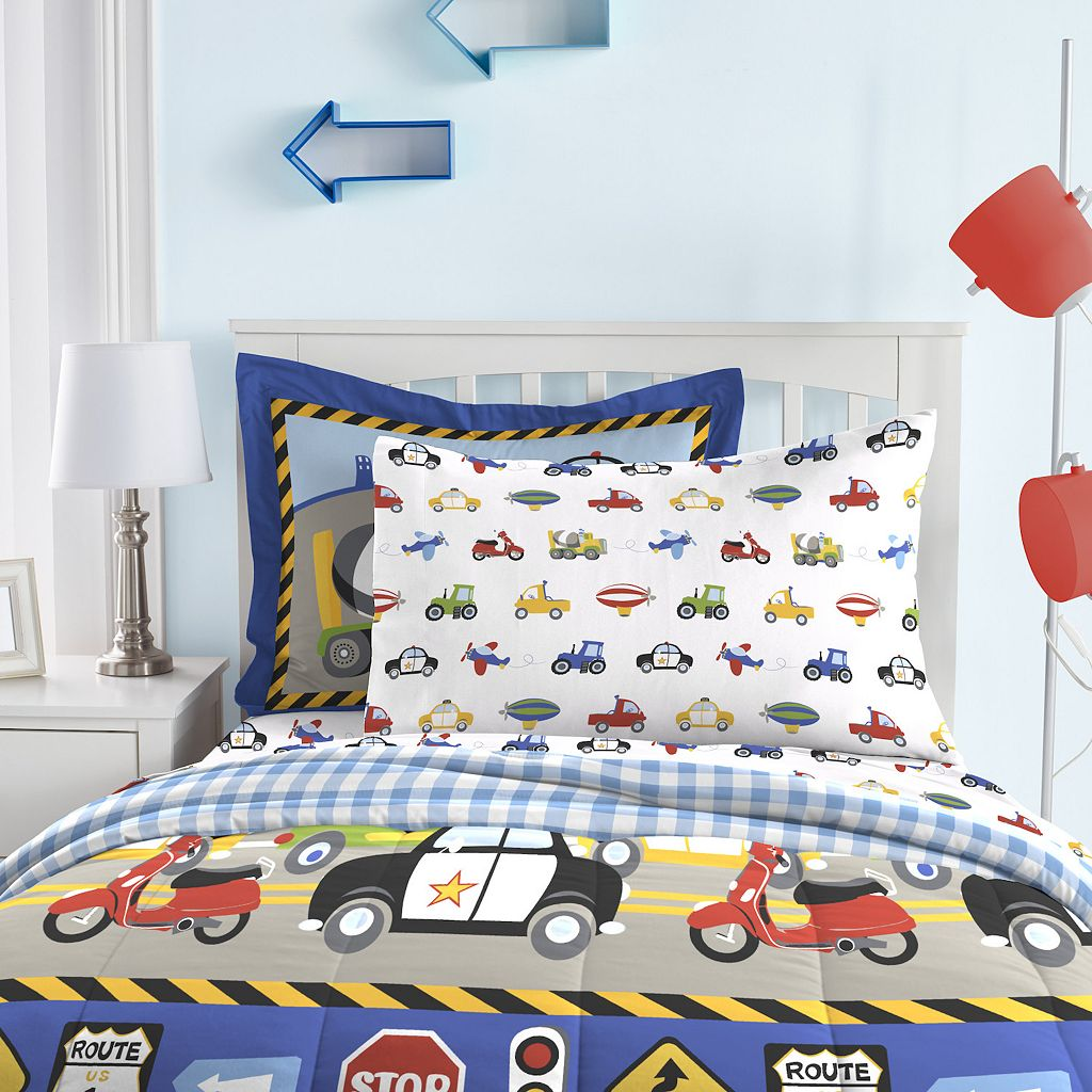 Dream Factory Trucks Tractors and Cars Bed Set - Twin