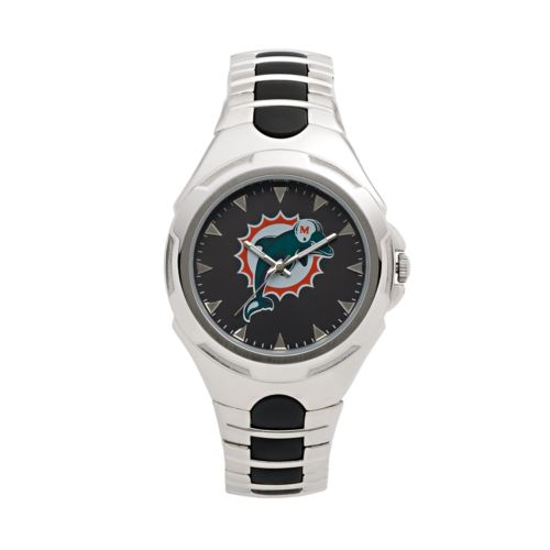 Game Time Victory Series Miami Dolphins Silver-Tone Watch - Men