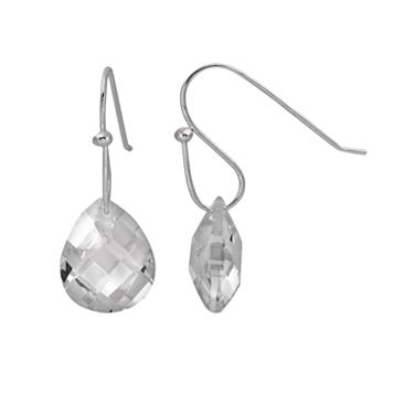Sterling Silver Cubic Zirconia Teardrop Earrings