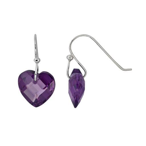 Sterling Silver Cubic Zirconia Heart Drop Earrings
