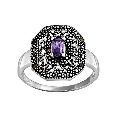 Sterling Silver Cubic Zirconia and Marcasite Frame Ring