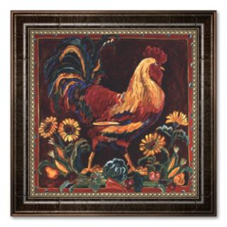 Rooster Rustic Framed Canvas Art by Suzanne Etienne